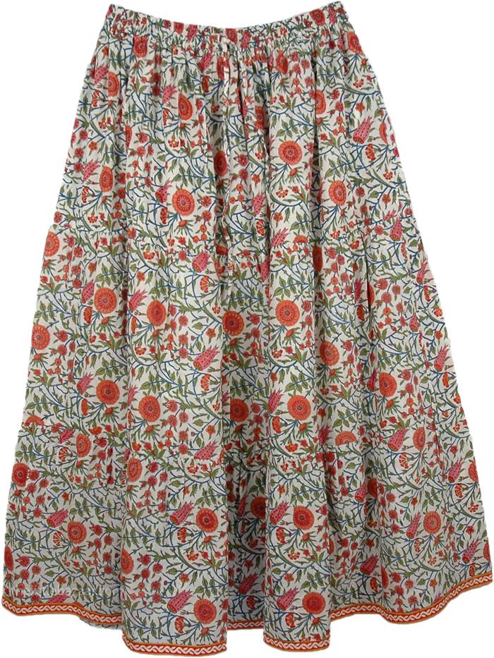 A Botanist Wonder Pull-On Skirt, Chestnut Rose Floral Flexible Skirt