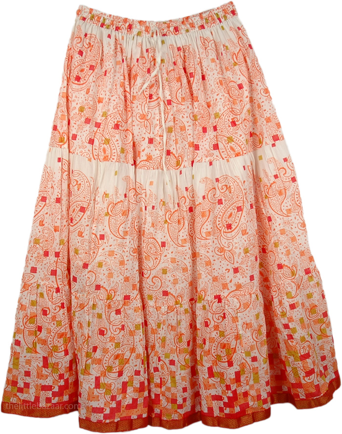 Paisley Print On White Skirt, Carmine Bright Easy Wear Long Skirt