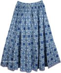 Blue Floral Cotton Printed Long Skirt [4139]