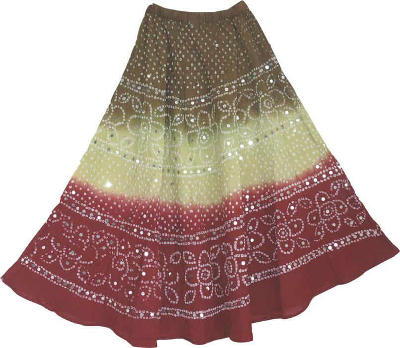Beautiful tie dye indian long skirt - Three colors flowing long skirt with sequins, Boho Tie Dye Sequin Indian Long Skirt