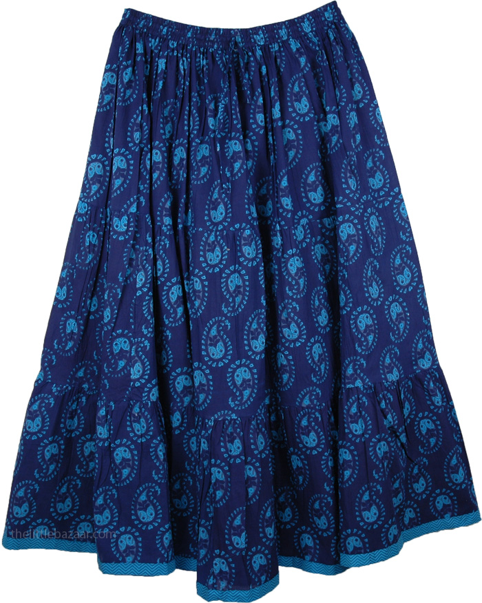 The Blue Pattern Skirt, Bunting Blue Pull-On Skirt