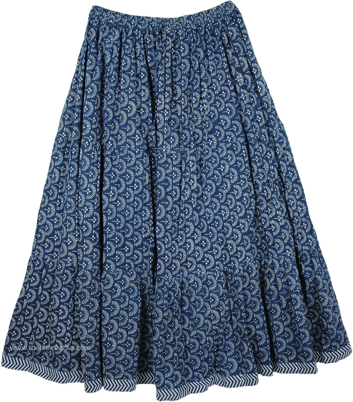 Cotton Printed Long Skirt Floral Blue, Paradise Blue Cotton Print Long Skirt