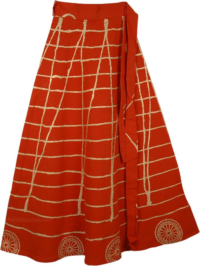 Orange Wrap Long Indian Skirt, Tango Orange Wrap Skirt Dress