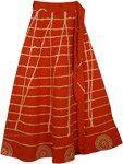Orange Wrap Long Indian Skirt [4142]