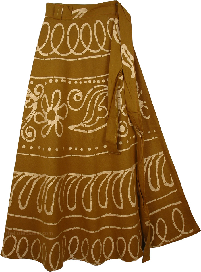 Dusty Wrap Long Indian Skirt, Reno Sands Wrap Skirt Cotton