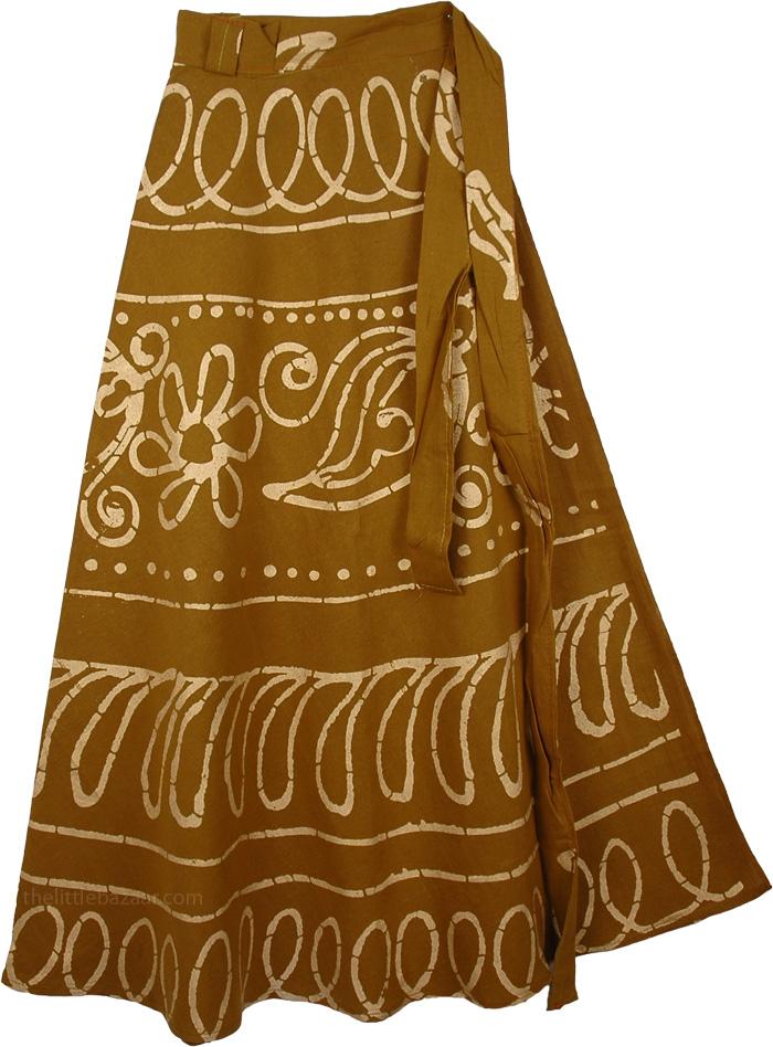 Dusty Wrap Long Indian Skirt, Reno Sands Wrap Skirt Cotton