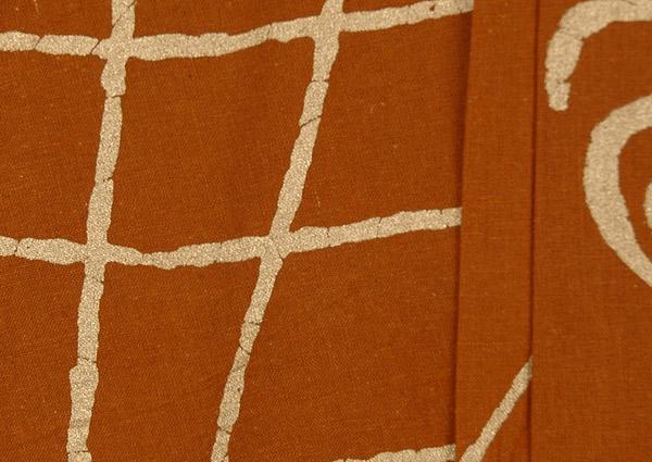 Peru Tan Golden Painted Skirt Cotton