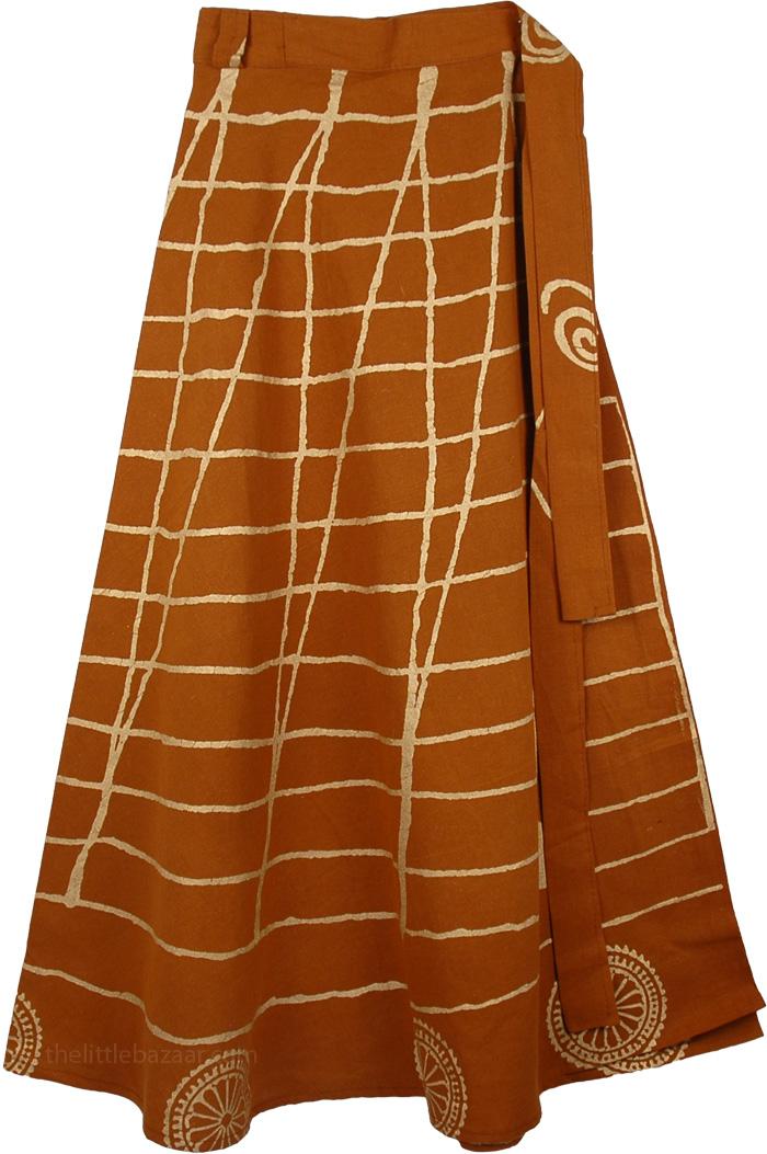 Dusty Wrap Long Indian Skirt, Peru Tan Golden Painted Skirt Cotton