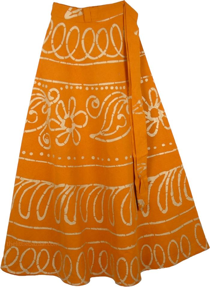 Turmeric Wrap Long Skirt, Tahiti Old Gold Girl Skirt