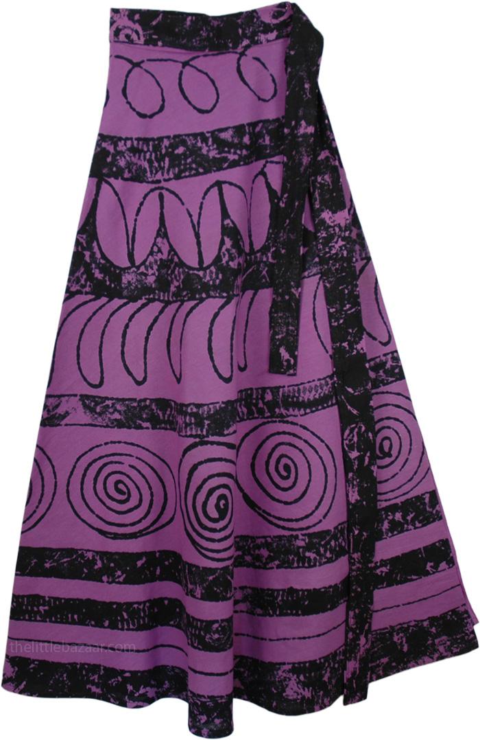 Block Printed Wrap Long Skirt, Strikemaster Womens Cotton Skirt
