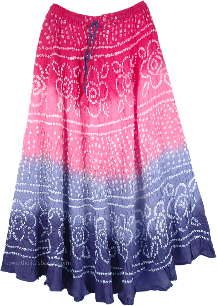 Dancing Flowers Ripple Tie Dye Skirt, Ombre Blossoms Rippling Dance Skirt