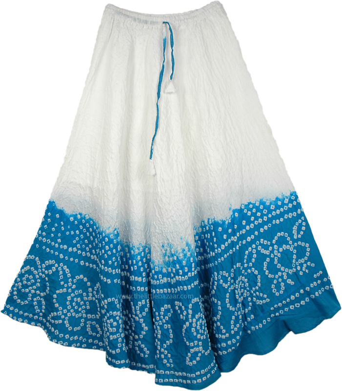 Turquoise Cotton Tie Dye Skirt, Blue Horizon Cotton Skirt