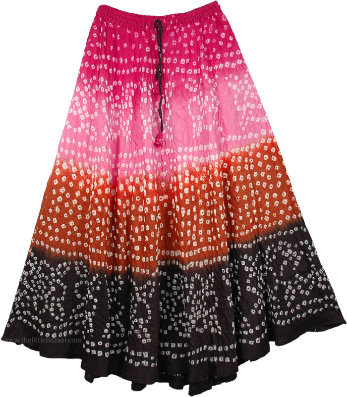 Pink and Black Ethnic Dance Skirt, Riviera Tie Dye Long Skirt