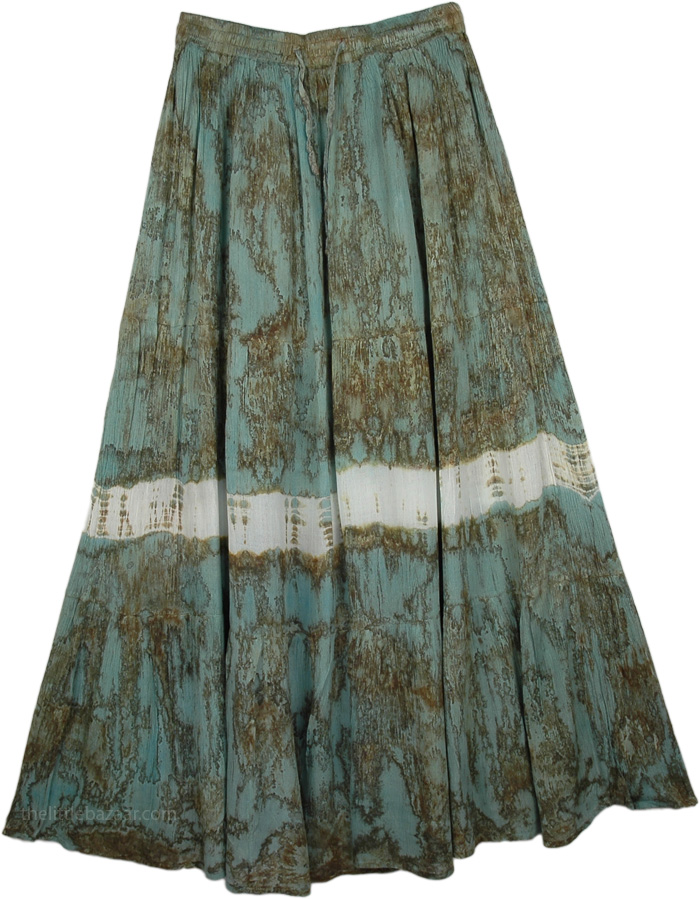 Green Marble Tie Dye Long Skirt, Viridian Green Tie Dye Swamp Skirt