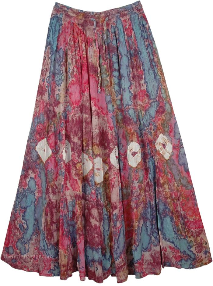 Full Tie Dye Marble Skirt, Tapestry Lotus Tie Dye Skirt