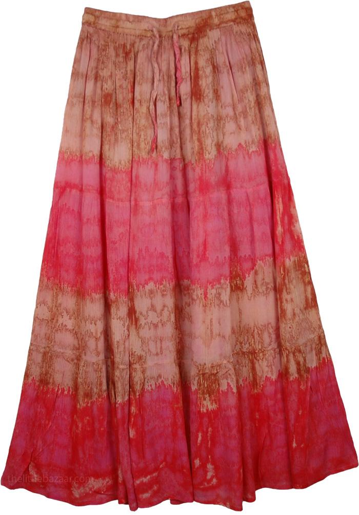 Two Toned Marble Tie Dye Long Skirt, Drawstring Skirt in Marble Tie Dye