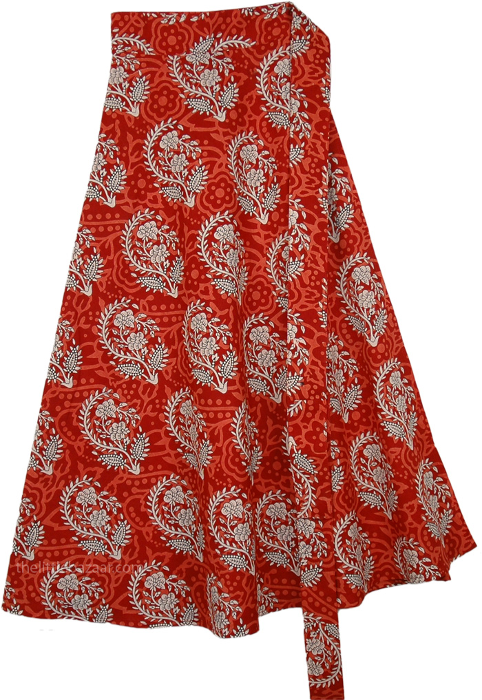 Red Berry Mid Length Summer Cotton Wrap Around