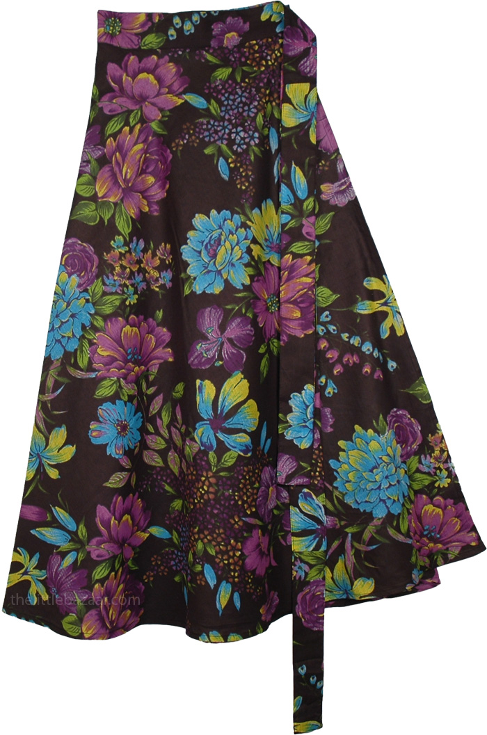 The Luau Party Skirt, Tropical Floral Black Wrap Around Skirt