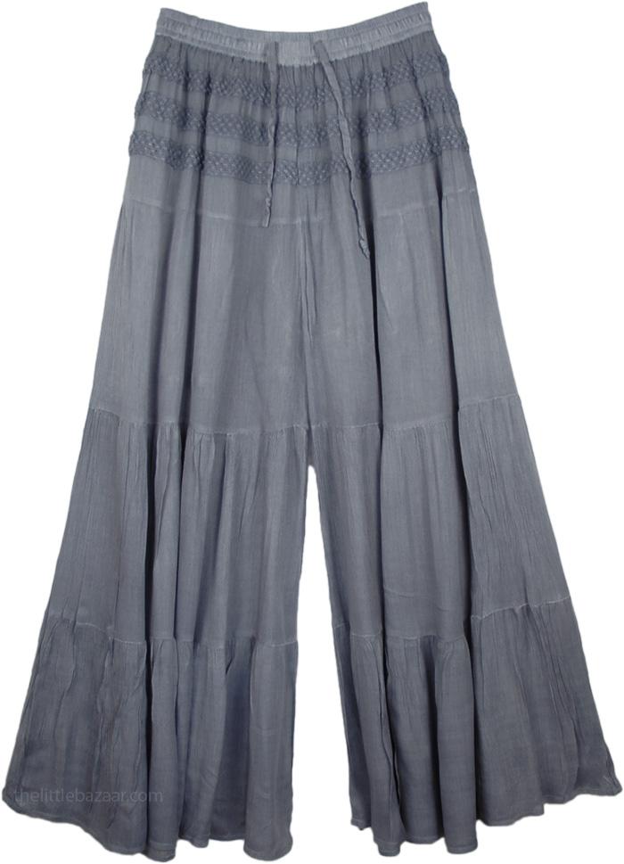 Gray Split Pant Skirts, Raven Split Skirt Riding Pants
