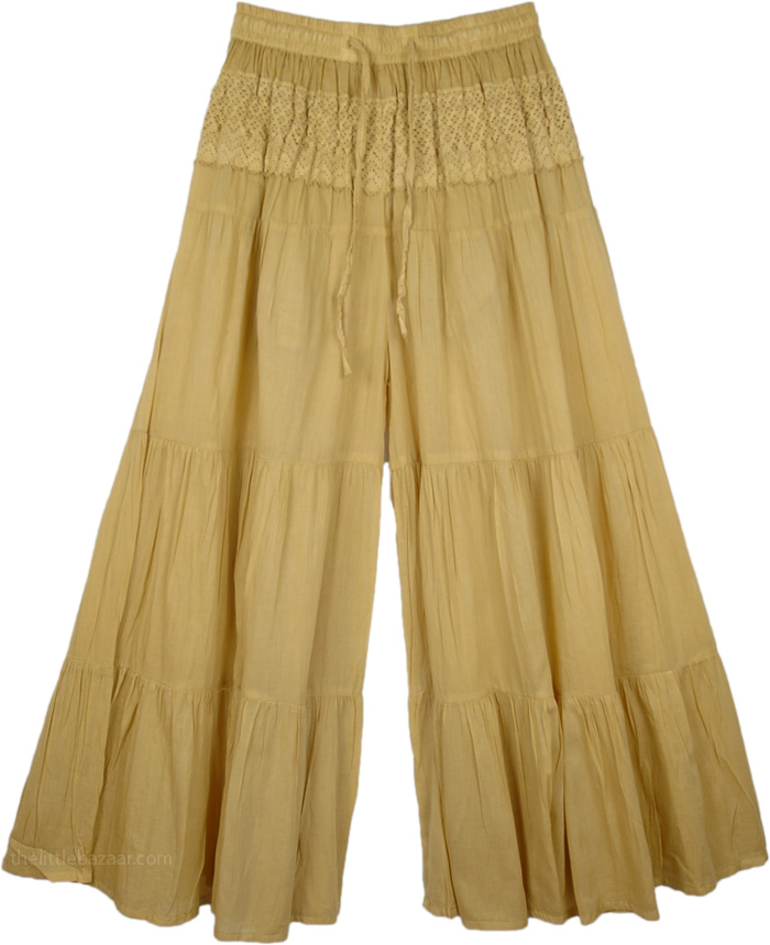 Driftwood Shaded Wide Leg Pant, Gaucho Split Skirt in Twine