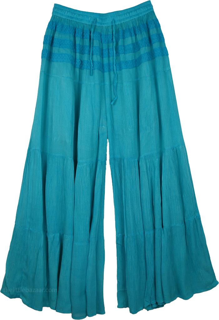 Blue Trousers Split Pant Skirt, Eastern Blue Split Skirt Riding Pants