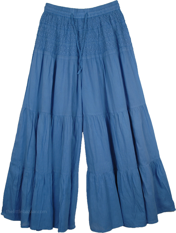 Wedgewood Blue Split Summer Skirt, Crochet Yoke Culottes Drawstring Pants