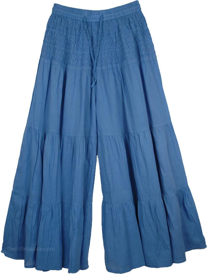 Wedgewood Blue Split Summer Skirt, Crochet Yoke Culottes Drawstring Pants