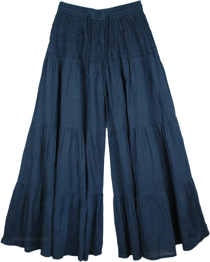 Pickled Bluewood Split Riding Pants, Royal Blue Palazzo Divided Skirt