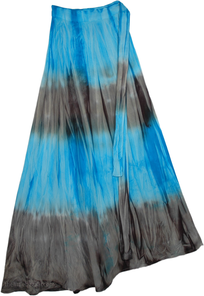 Blue Grey Cotton Wrap Around Skirt, Serendipity Haze Blue Grey Wrap Skirt