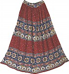 Printed Red Long Skirt with Sequins