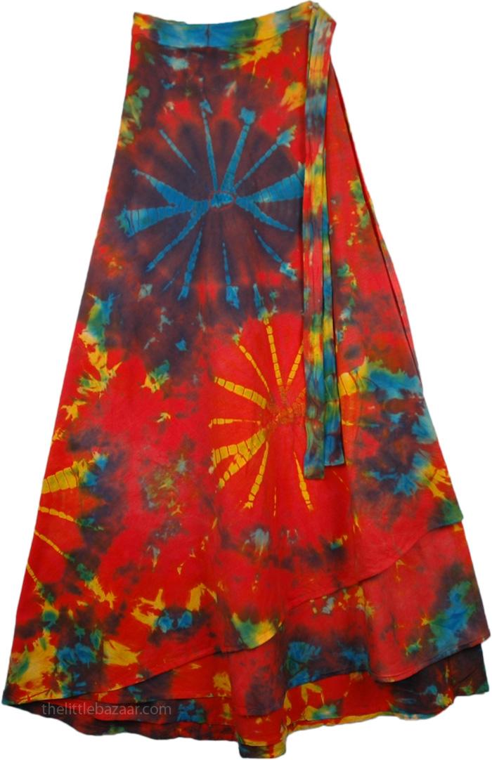 Vivid Tie Dye Indian Wrap Long Skirt , Cosmic Brilliance Tie Dye Wrap Long Skirt