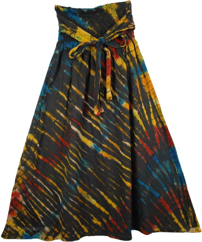 Streaked Tie Dye Hippie Skirt, Sangria Tie Dye Pull-On Skirt