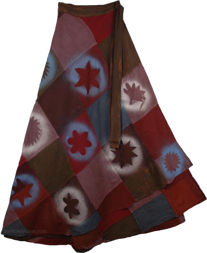 Bohemian Patch Burgundy Skirt, Cherrywood Espresso Wrap Womens Skirt