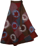 Bohemian Patch Burgundy Skirt [4176]