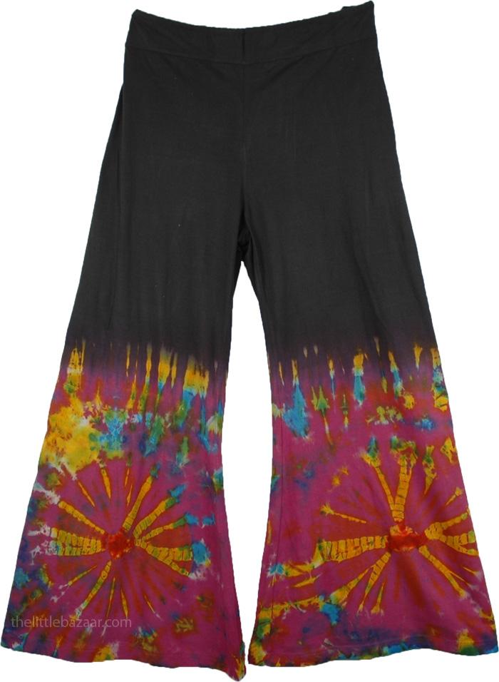 Tie Dye Colorful Black Pant, Boho Hippie Tie Dye Wide-Leg Long Gaucho Pant