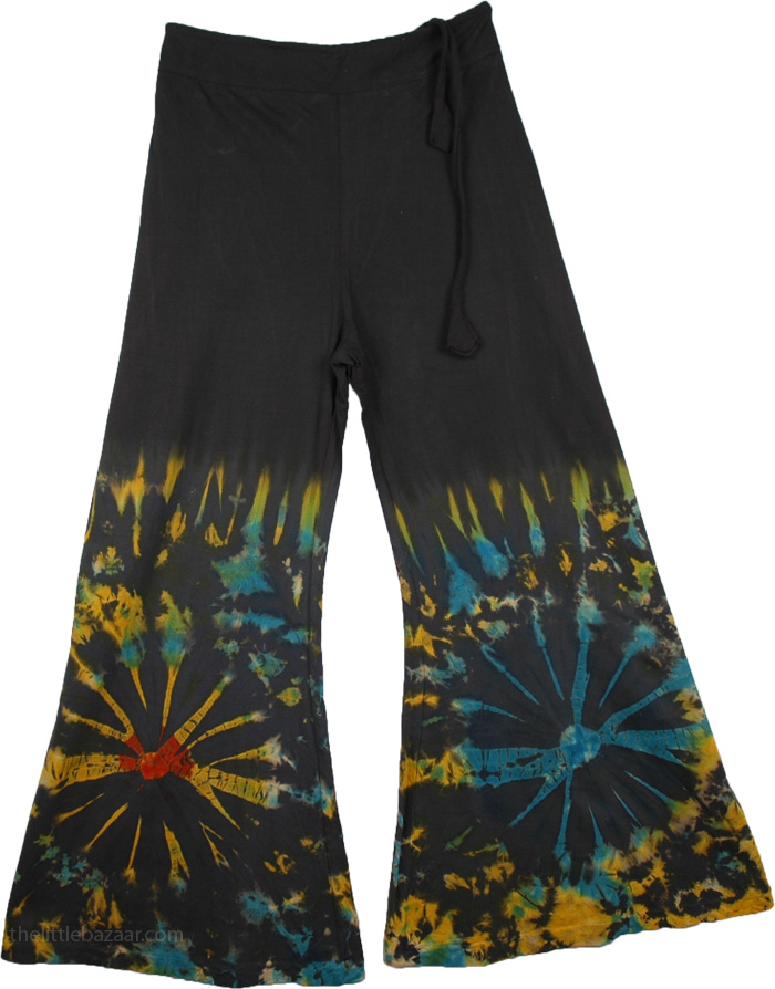 Wide Leg Bohemian Black Pants, Margarita Hippie Tie Dye Lounge Pant