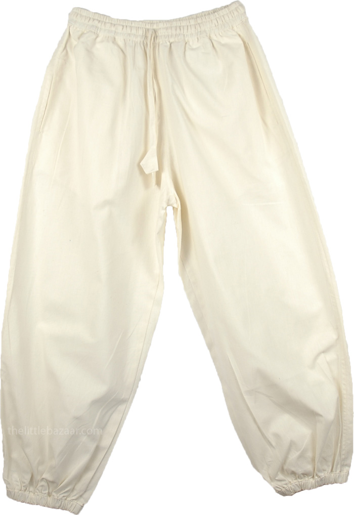 White Cotton Everyday Pants with Pockets for Women
