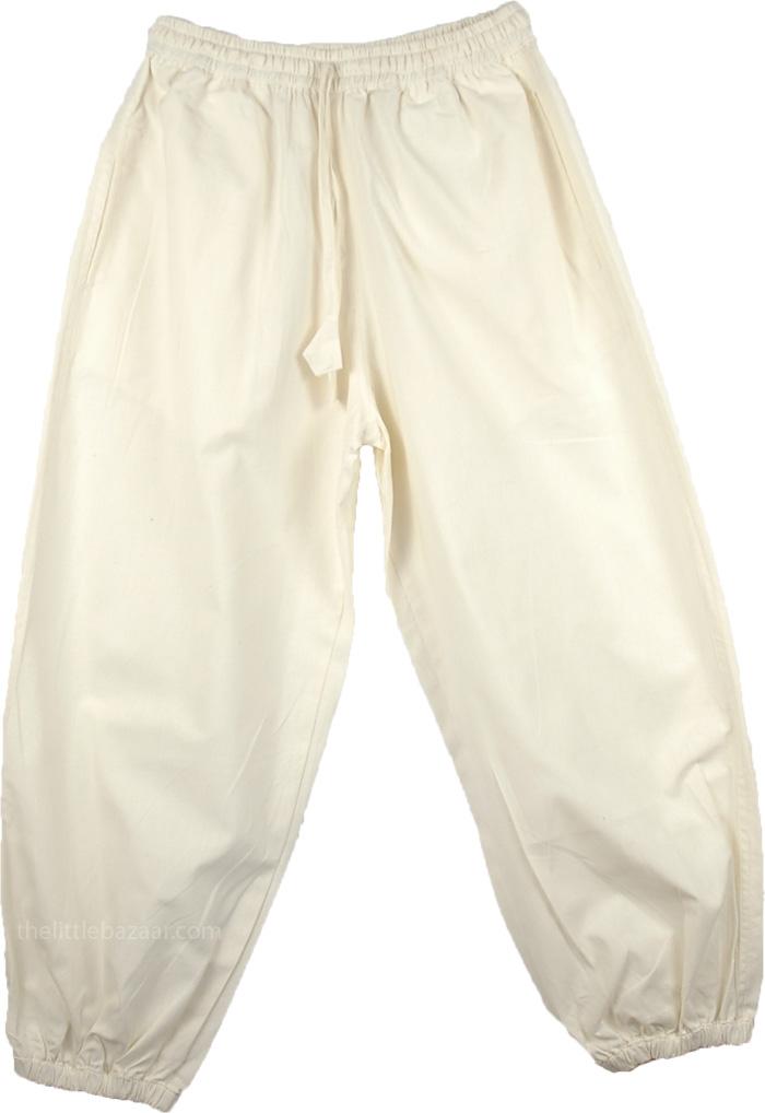 Dance Workouts Lounge Baggy Pants, White Cotton Ladies Harem Pants