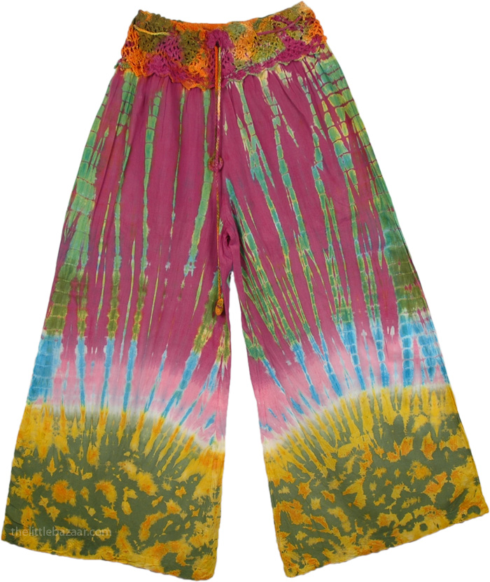 Tie Dye Yoga Pants, Tie Dye Hippie Pants with Crochet Yoke