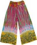 Tie Dye Hippie Pants with Crochet Yoke