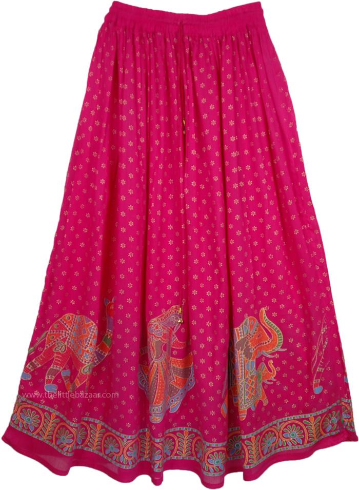 Disco Pink Indian Skirt, Maroon Flush Golden Long Skirt