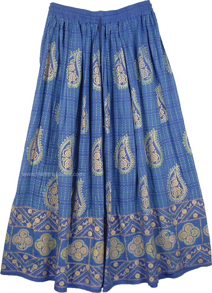 Casual Womens Indigo Skirt, Indigo Gold Paisley Print Rayon Skirt