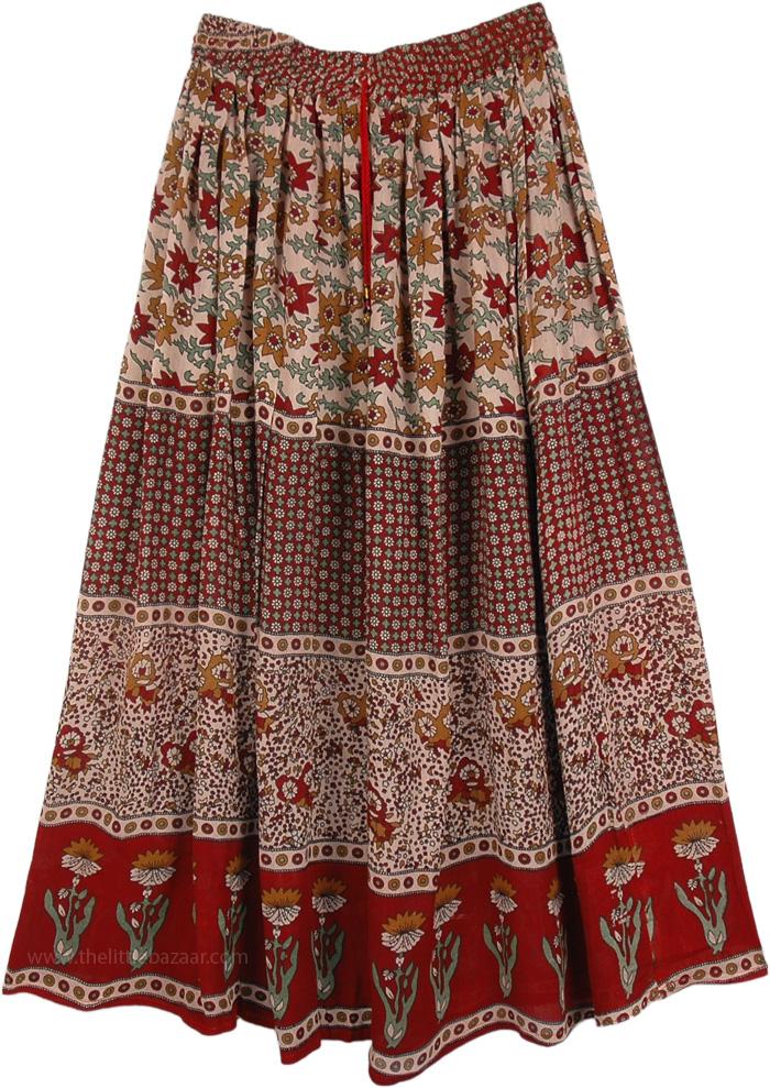 Printed Indian Long Rayon Skirt, Avian Printed Street Skirt