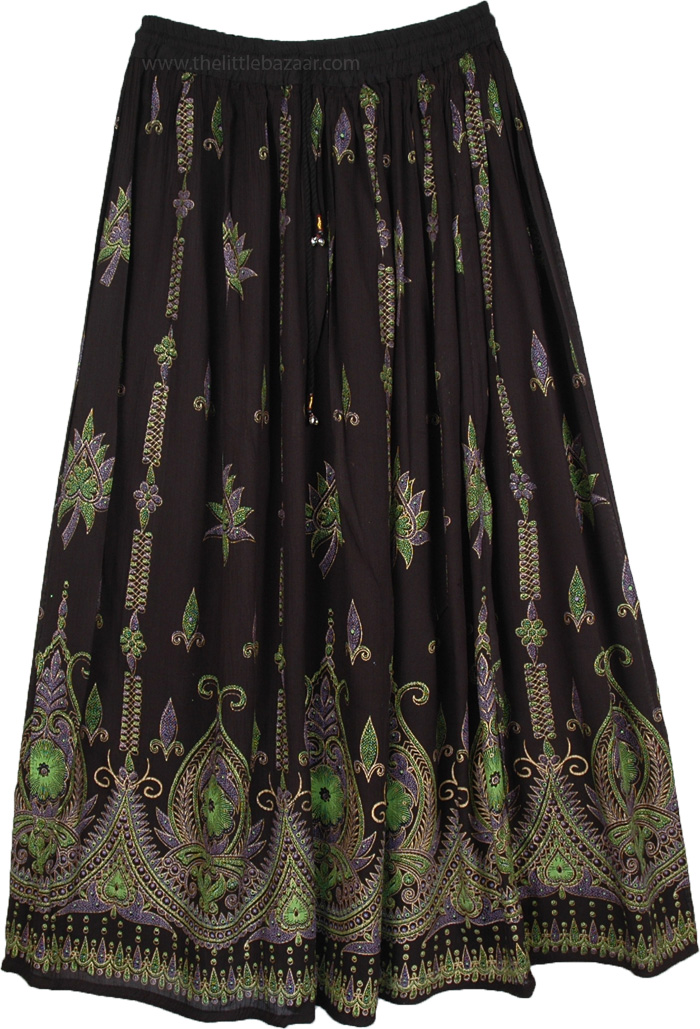 Attractive Black Indian Skirt, Sycamore Black Long Skirt