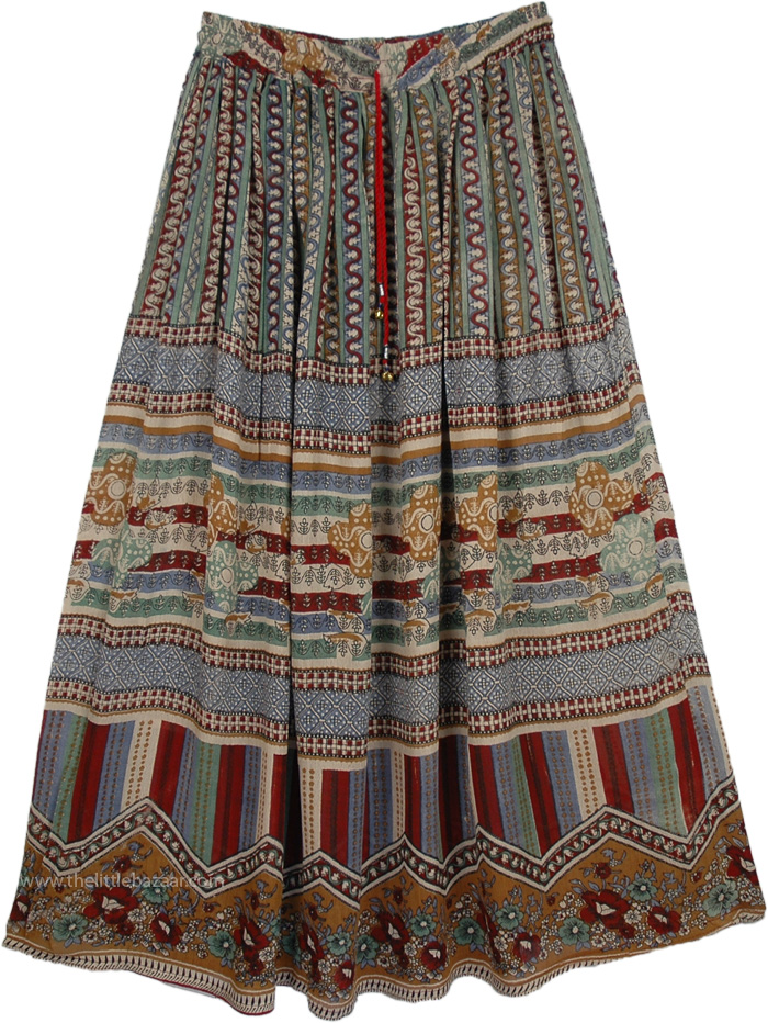 Light Ethnic Flowy Skirt, Tan Rayon Ethnic Skirt