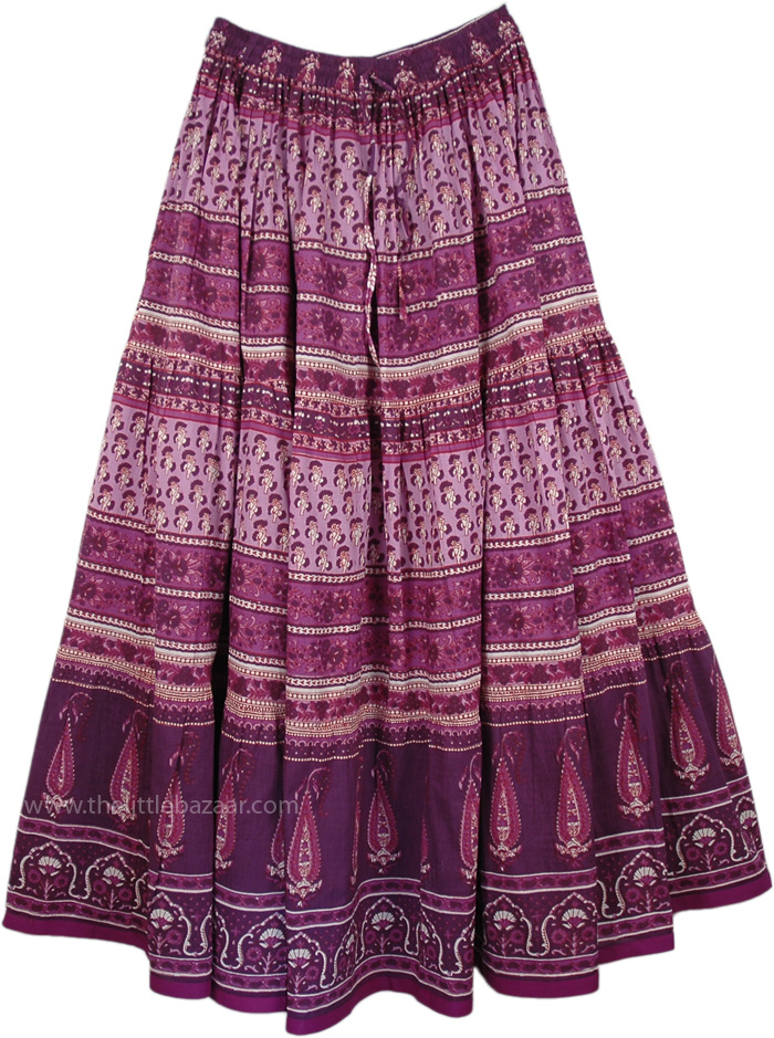 Boho Printed Summer Purple Skirt, Bossanova Printed Cotton Summer Skirt