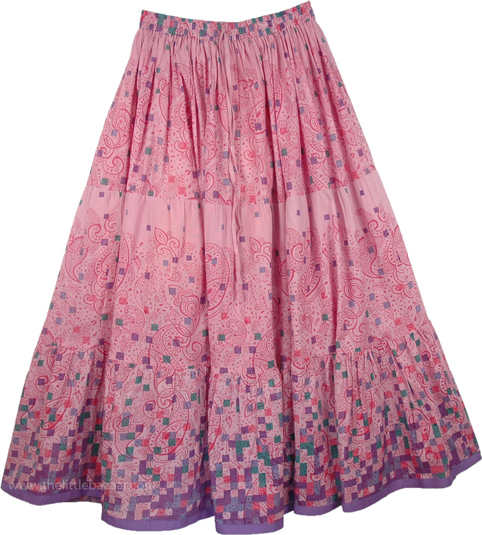 Paisley Print On Pink Summer Skirt, Careys Pink Easy Wear Long Skirt