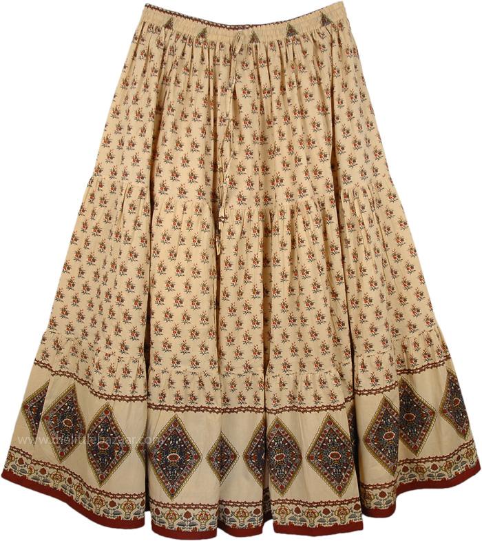 Verona Style Extra Large Skirt, Tan Plus Size Summer Cotton Skirt