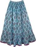 Glacier Blue Cool Summer Full Skirt [4205]