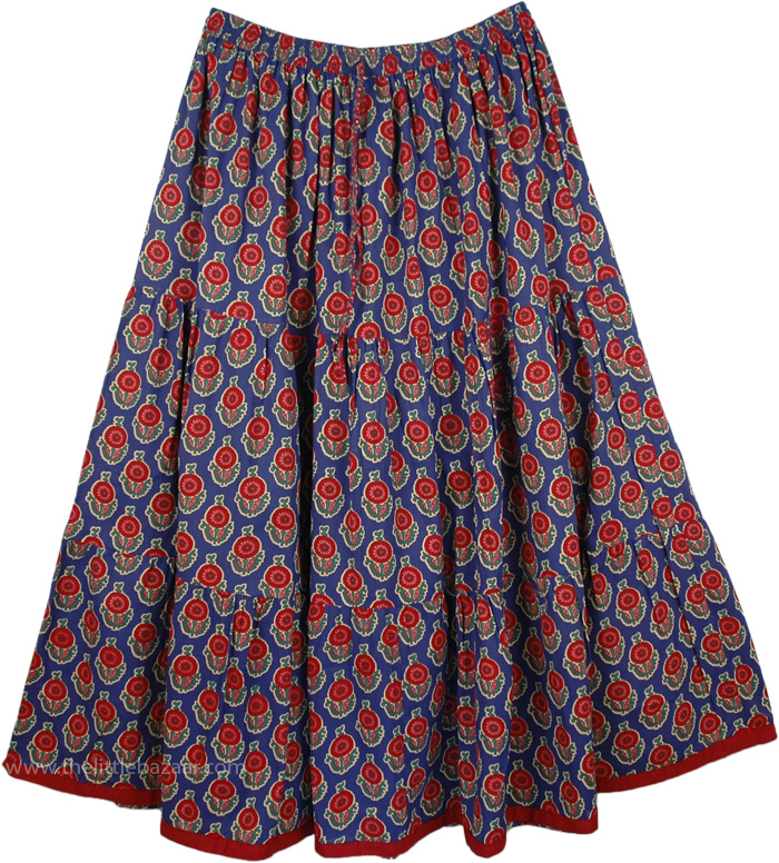 Mexicali Extra Large Pull On Skirt, East Bay Plus Size Summer Printed Skirt
